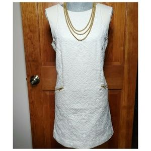 J. Crew Shift Sheath Dress Size Medium Ivory EUC